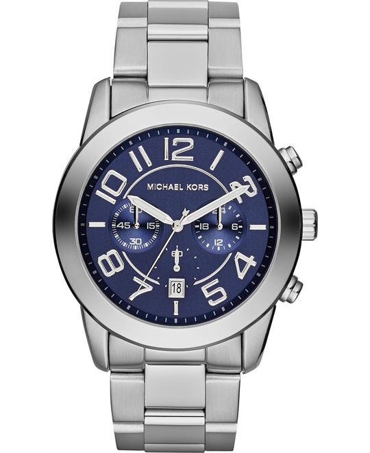 Michael Kors Mercer Blue Silver Men's Watch 45mm