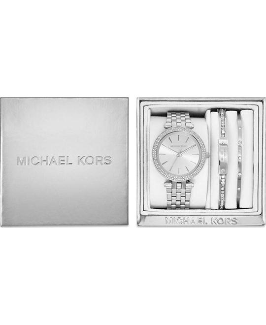 Michael Kors Mini Darci Silver-Tone Watch and Bracelet Gift Set 33mm