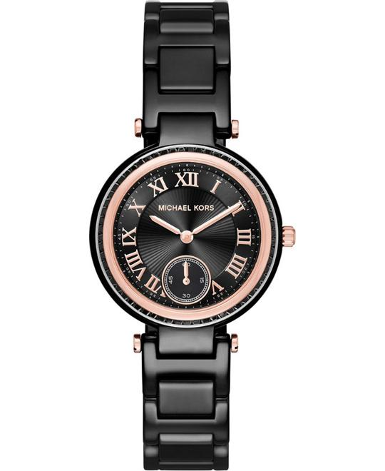 MICHAEL KORS Mini Skylar Black Dial Ceramic Ladies Watch 33mm
