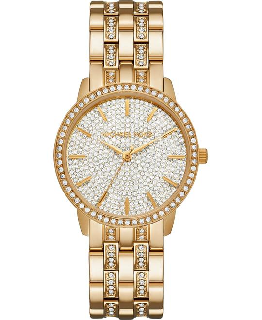 MICHAEL KORS Nini Pavé Gold-Tone Watch 36mm