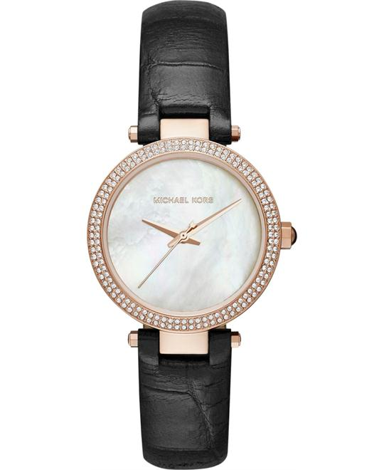 Michael Kors Parker Mini Black Leather Watch 33mm