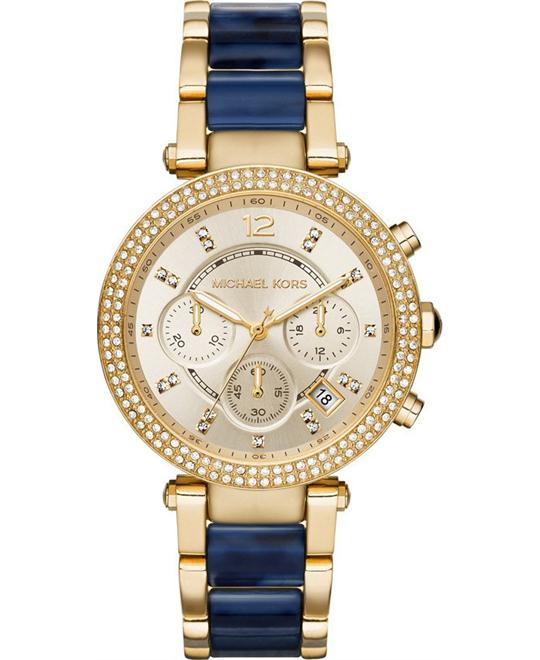 MICHAEL KORS  Parker Pavé Navy Acetate Watch 39mm