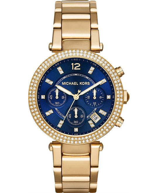 Michael Kors Parker Women's Gold Tone  Blue Dial Watch 39mm