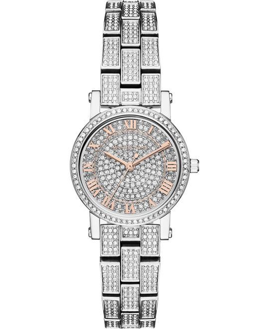 đồng hồ MICHAEL KORS Petite Norie Pavé Silver-Tone Watch 28mm