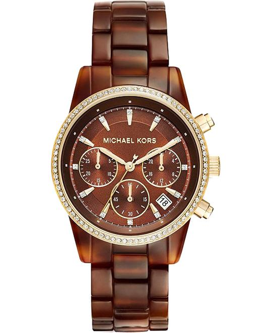MICHAEL KORS Ritz Brown Chronograph Tortoise Watch 37mm