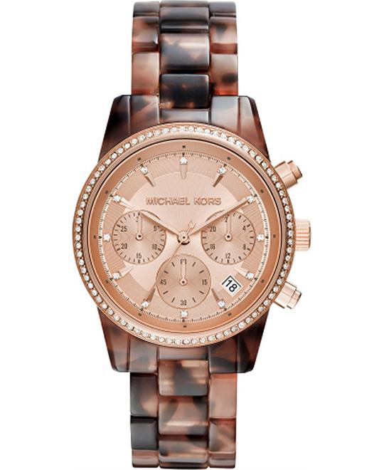 MICHAEL KORS Ritz Champagne Chronograph Tortoise Watch 37mm