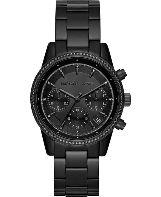 MICHAEL KORS Ritz Pavé Black-Tone Watch 37mm