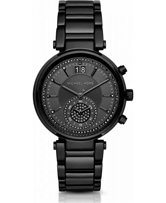 Michael Kors  Sawyer Black-Tone Glitz Dial Women's Watch 39mm