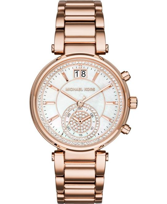 MICHAEL KORS Sawyer Rose Gold Ladies Watch 39mm