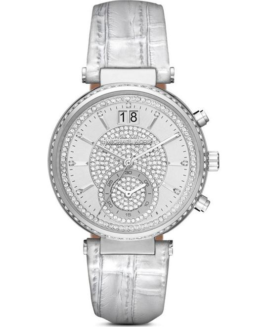 MICHAEL KORS Sawyer Silver Pave Ladies Watch 39mm
