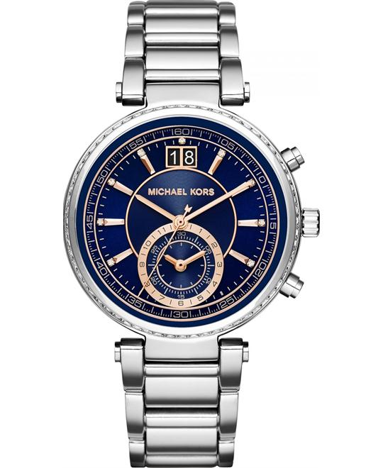 MICHAEL KORS Sawyer Silver-Tone Watch 39mm