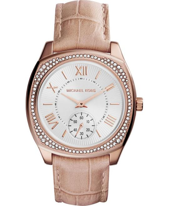 Michael Kors Bryn White Dial Nude Leather Women's Watch 39mm