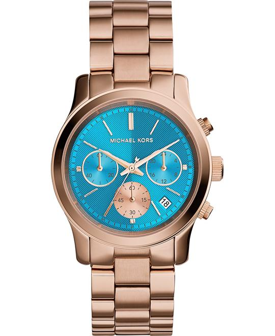 Michael Kors Runway Blue Dial Rose Unisex Watch 38mm