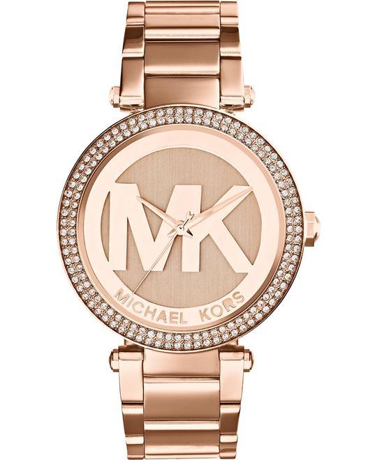 Michael Kors Parker Rose Gold MK Logo Watch 39mm