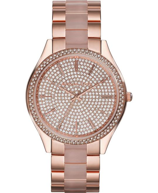 Michael Kors Slim Runway Pave Dial Ladies Watch 42mm