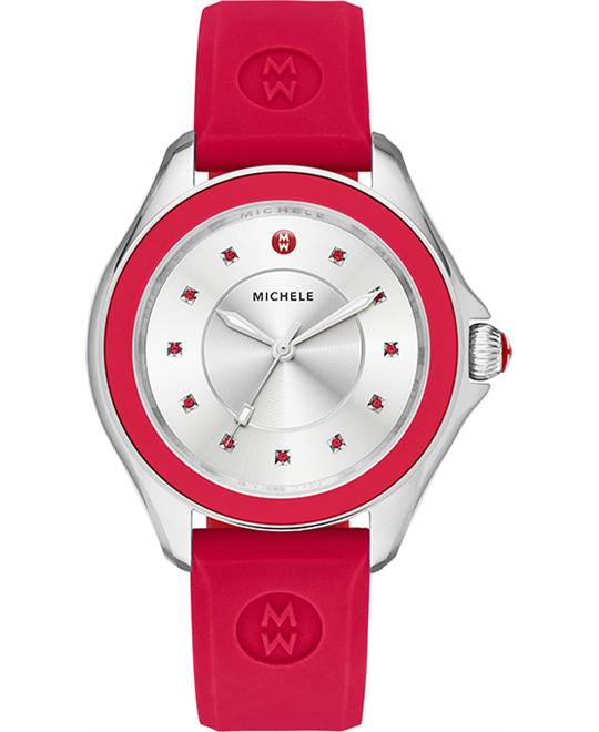 MICHELE Cape Silver Dial Red Topaz Ladies Watch 36mm