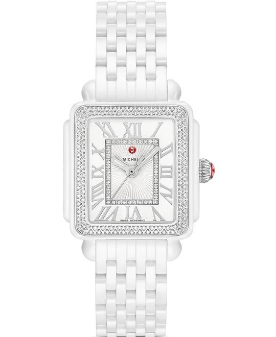 Michele Deco Madison Mid White Ceramic Watch 29mm x 31mm