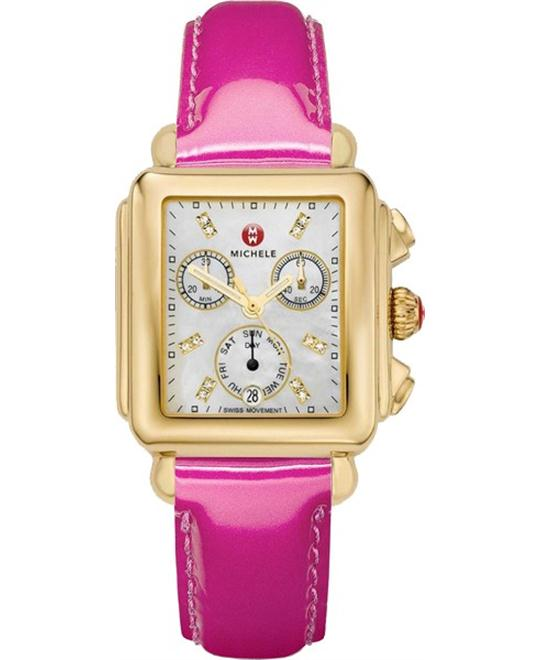MICHELE Deco Mother of Pearl Pink Ladies Watch 33 x 35mm
