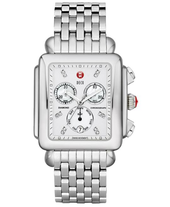 Michele Deco XL Swiss Quartz Silver Watch 36.5mm X 38mm