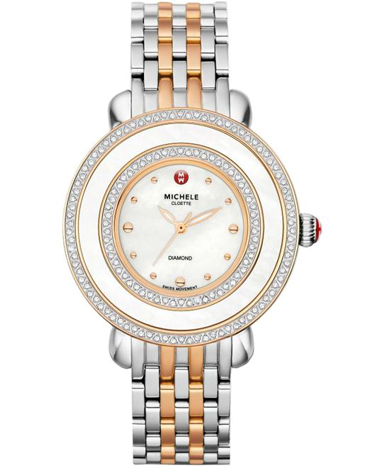 Michele Cloette Ladies Diamond Stainless 38mm