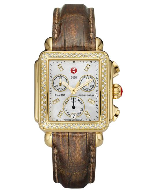 Michele Deco Signature Ladies Leather 33mm X 35mm