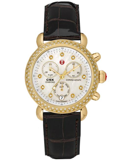 Michele CSX-36 Diamond Watch Espresso Alligator Ladies 36mm
