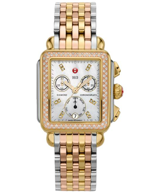 Michele Signature Deco Diamond Tri-Tone 33mm X 35mm