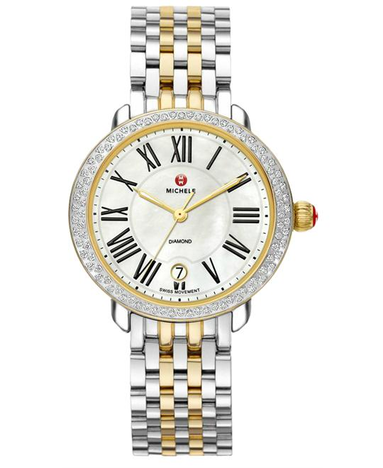 Michele Serein Ladies Stainless Steel & Gold 36mm X 34mm