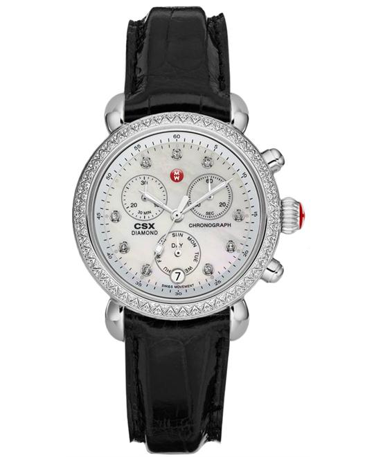 Michele CSX-36 Ladies Stainless Leather 36mm