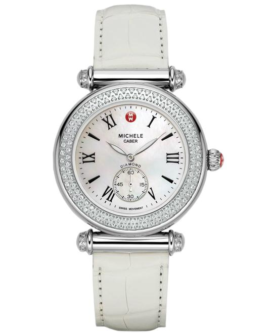 Michele Ladies Stainless Steel Leather 37mm