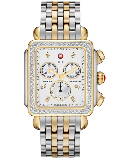 Michele Medium Stainless Steel & Gold 36.5mm X 38mm