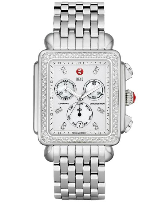 Michele Medium Deco XL Polished, Swiss Quartz 36.5mm X 38mm