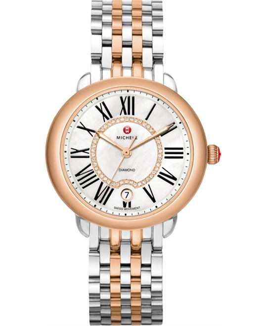 MICHELE Serein 16 White Mother Of Pearl Ladies Watch 36 x 34mm