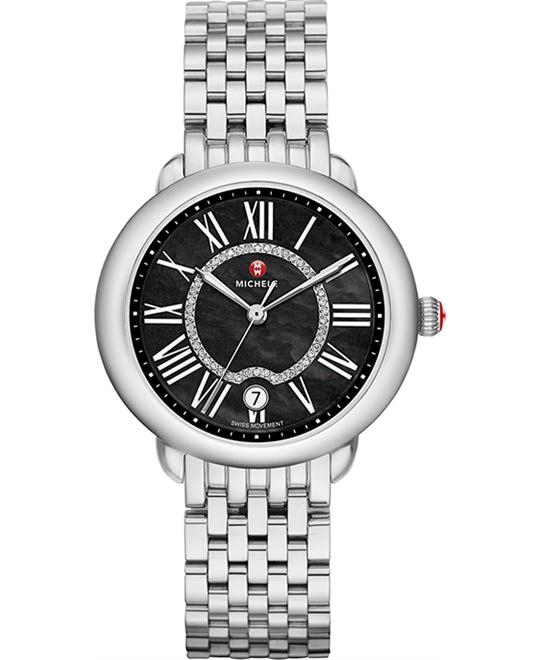 Michele Serein Black Diamond Dial Watch 36 x 34mm