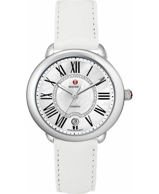 Michele Serein Diamond Dial White Patent Watch 36 x34mm