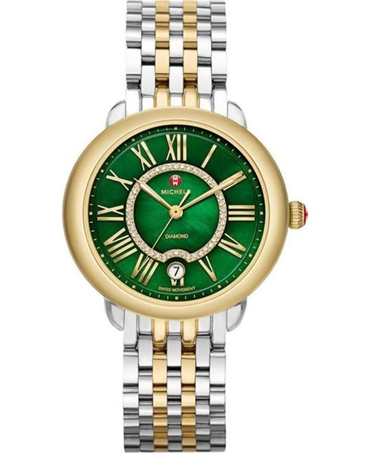 MICHELE Serein Green Mother of Pearl Ladies Watch 36 x 34mm
