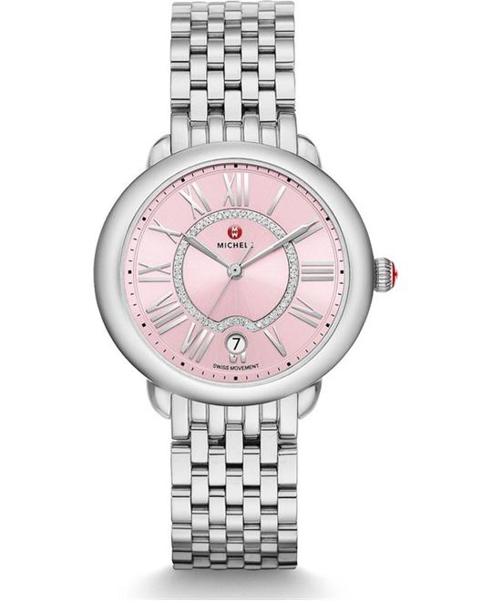 Michele Serein Mid Pink Diamond Watch 36 x 34mm