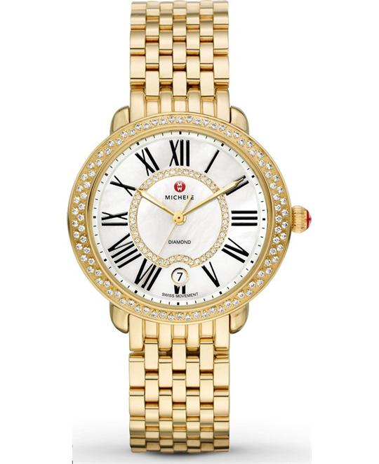Michele Serein Mid Gold Diamond Watch 36*34mm