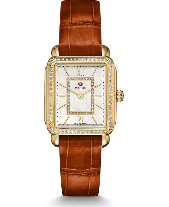 Michile Deco II Mid-size Diamond Coffee Watch 26*27.5mm