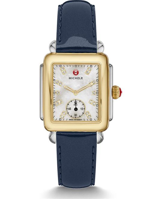 Michile Deco Mid Diamond Navy Patent Watch 29*31mm