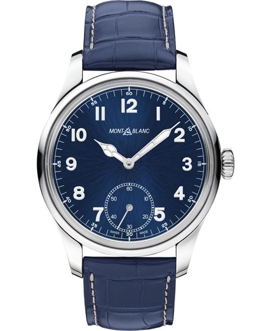 Montblanc 1858 113702 Blue Automatic Leather Men's Watch 44mm