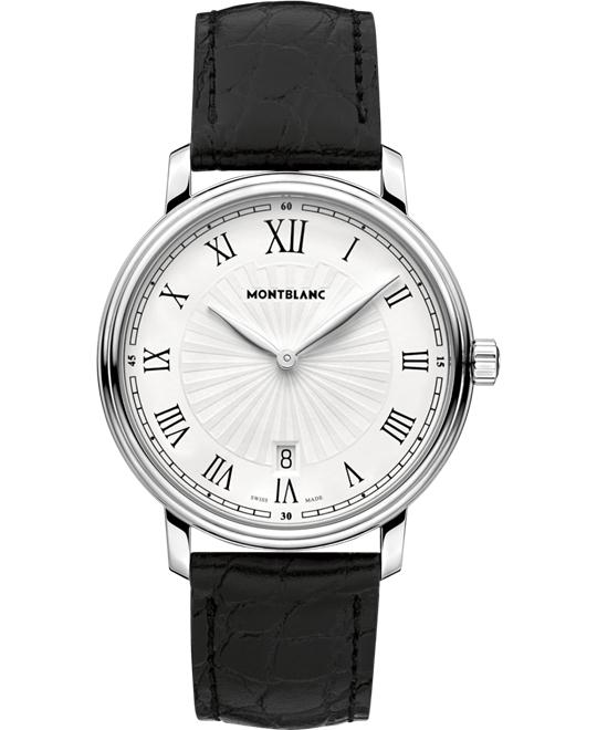 Montblanc Tradition Date Leather Quartz Watch 112633 40mm
