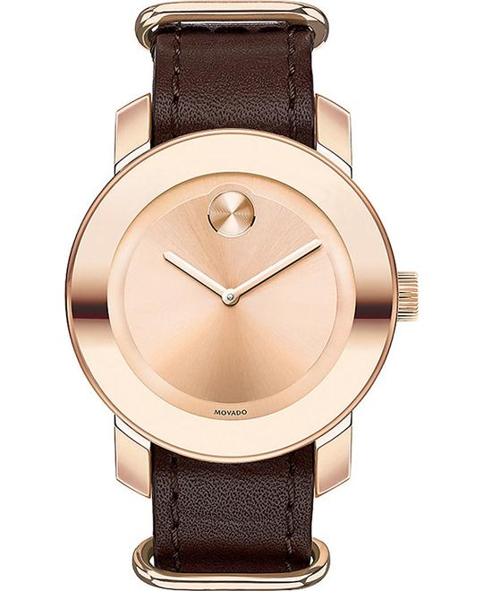 MOVADO Bold Brown Leather Unisex Watch 36mm