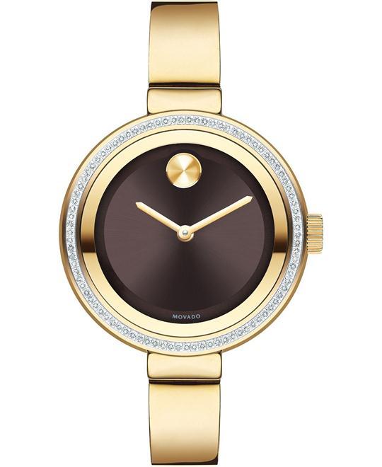 MOVADO Bold Chocolate Metallic Dial Diamond Ladies Watch 34mm