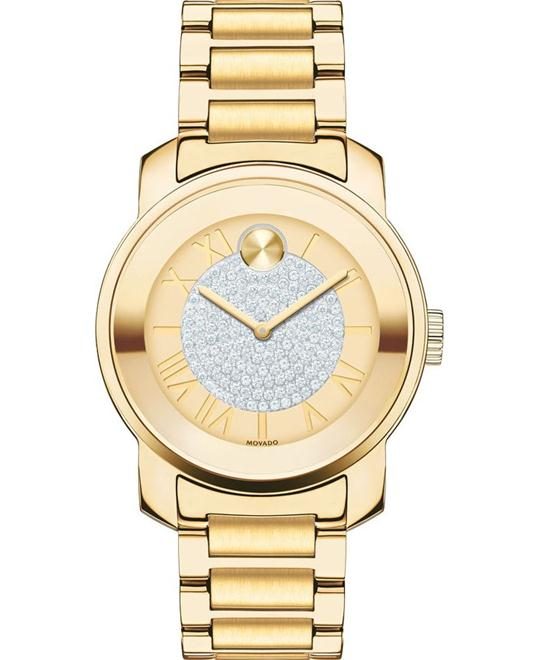 MOVADO Bold Gold Pave Dial  Ladies Watch 32mm