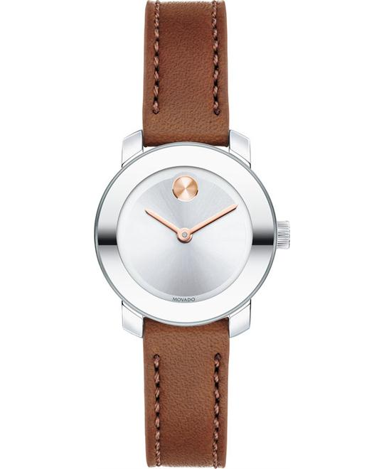 MOVADO Bold Silver Brown Ladies Watch 25mm