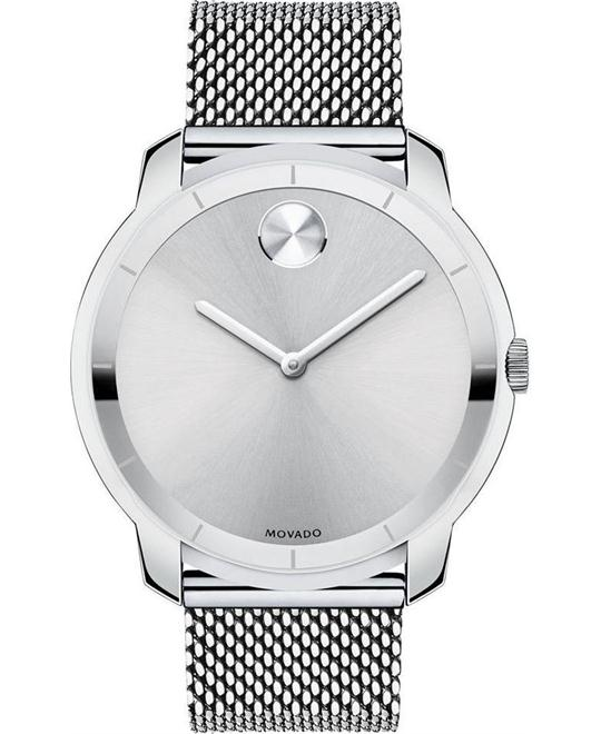 MOVADO Bold Silver Dial Stainless Steel Mesh Men's Watch 44mm