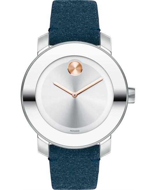 MOVADO Bold Silver Sunray Suede Watch 36mm