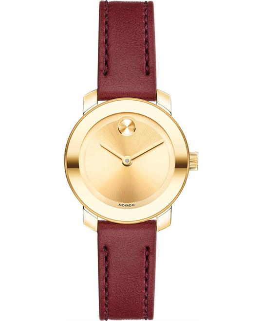 MOVADO Bold Sunray Burgundy Ladies Watch 25mm