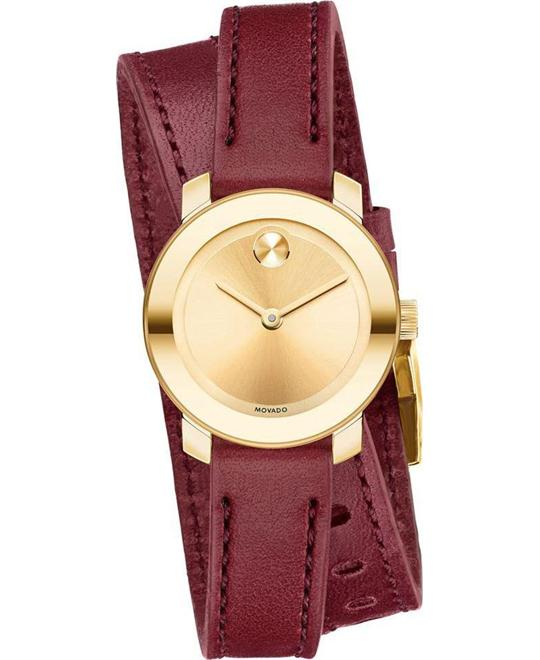 MOVADO Bold Yellow Gold-Tone Sunray Dial Ladies Watch 26mm